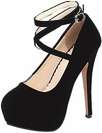 Women's Evening Party Shoes Ankle Strap Stilettos High Heels Round Toe Pumps Dress Shoes