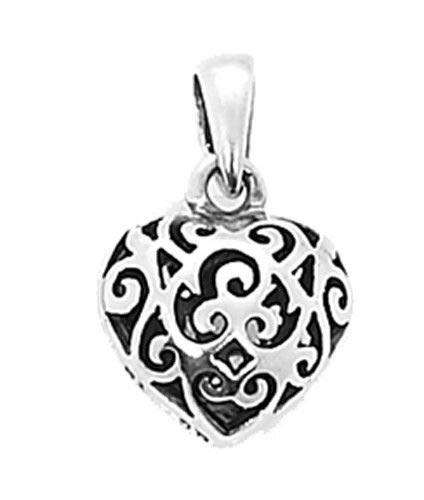 Sterling Silver Filigree Puff Heart Charm/Pendant Jewelry Making Supply Pendant Bracelet DIY Crafting by Wholesale Charms