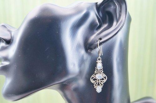 Boucles d'oreilles liaton avec pierre de lune 48 mm x 15 mm