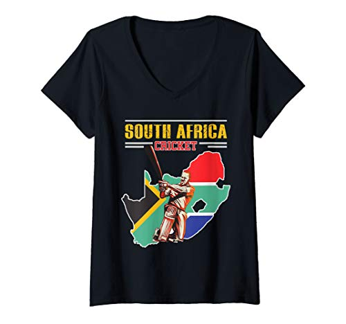 Womens South African Batsman Shirt - South-Africa Cricket Cup Fan V-Neck T-Shirt (Best South African Cricketers)