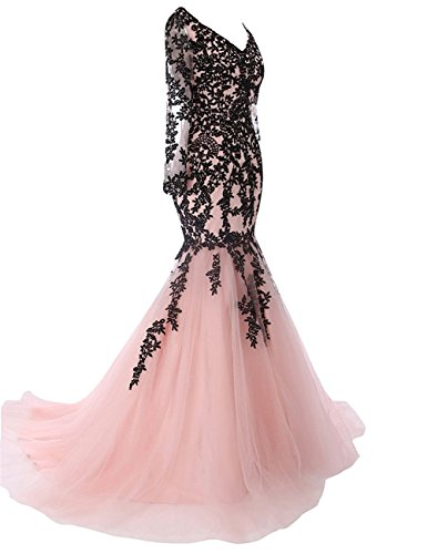 Prom Sleeve Bridal Neck Watermelon Evening Dress Gown Bess Mermaid Lace V Long Women's pwR0dX