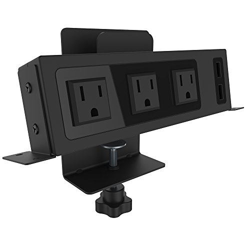 Adjustable Outlet - ChargeTech - Desktop Outlets Power Strip - Adjustable Desk Charging Station Includes 3 AC Outlets and 2 2.4A USB ports With a Mount for Your Mobile Device or Tablet