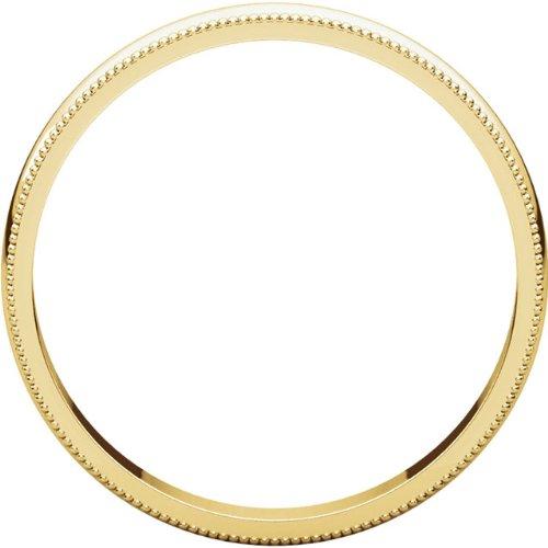 Mens 10K Yellow Gold 3mm Light Milgrain Half Round Wedding Band Ring