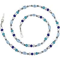 Beaded Glass Eyeglass Chain Holder Fashion Lanyard Necklace, Celia Blue