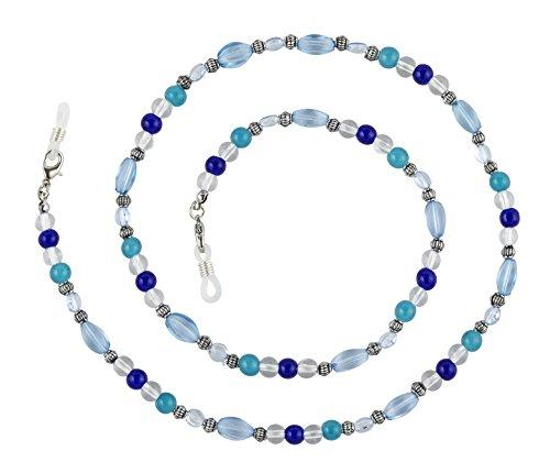 Glass Beaded Holder - Beaded Glass Eyeglass Chain Holder Fashion Lanyard Necklace, Celia Blue