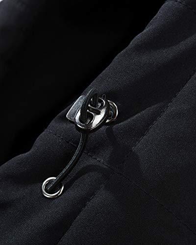 Zip Completo Cappuccio Maschile Giacca Caldo Anyua Nero Sottile Non Con impermeabile Cappotto tOqSUxWpwW