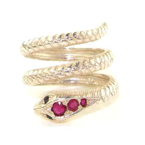 925 Sterling Silver Natural Ruby and Sapphire Womens Band Ring - Sizes 4 to