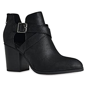 Soda Scribe-S Black Vegan Leatherette Cut Out Buckle Chunky Heel Ankle Bootie (10)