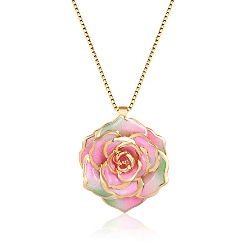FM FM42 Pink & Green Gold-Tone 30mm Made of Real Rose Flower Pendant Necklace FN4214