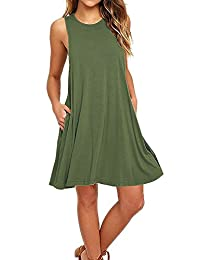 Amstt Women's Sleeveless Pockets Casual Loose Swing T-shirt Summer Dresses