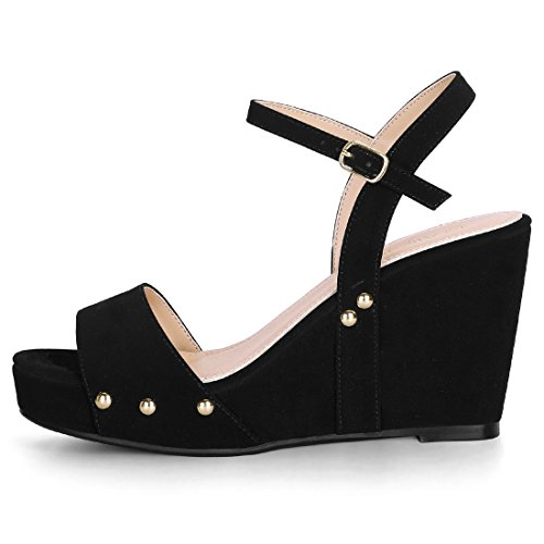 Ankle Black Heel Allegra Wedge K Women's Slingback Sandals Platform Strap gBXwq6Bn