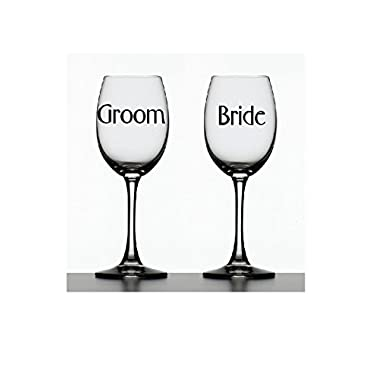 Bride & Groom Decals ~ Set of 2 Decals ~ 2  wide. Color shown or choose from 12 colors. No background. Made by Maple Creek. Decals only. Glasses not included.
