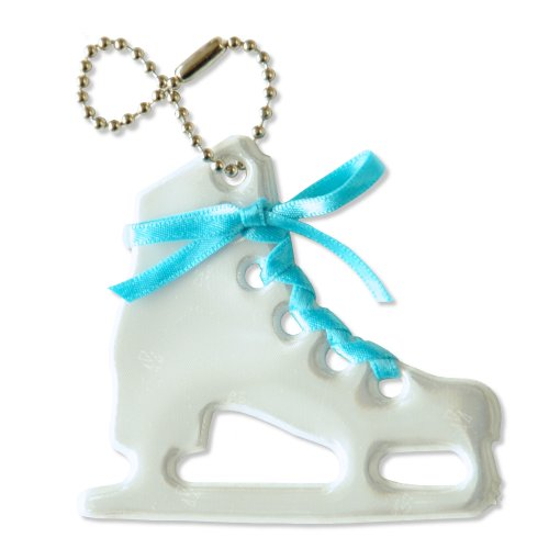 Reflector Satin - funflector Safety Reflector - Figure Skate with Satin Lace - White and Turquoise - 1-pack