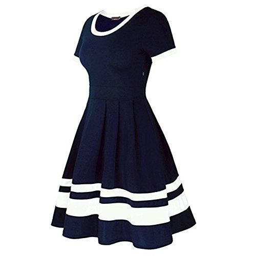 Bleu Robe Amincissant Rond Epaissage Elgante Courtes Col Robe Vintage Soire Manches 1 Rayures Femme Fonc Longue Bonboho Mi pour Party qv5OT7