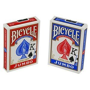 Bicycle Cards Poker Size Jumbo Index Playing Cards (1 Dozen Decks, 6 Red and 6 Blue)