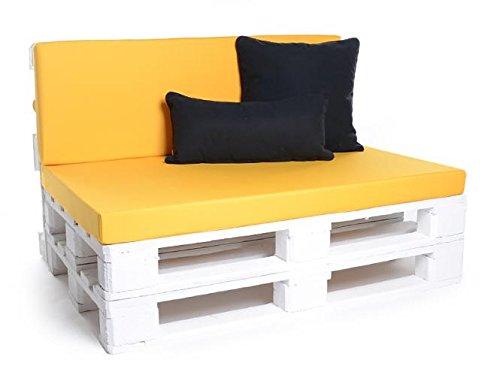 Palettenkissen, Gartenmöbel Auflagen, Sitzbankauflage, Matratzenauflagen auch m. Rückenlehne bzw. Dekokissen in Kunstleder gelb, wasserabweisend und strapazierfähig