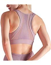 ZIEM Women Sports Bra Mesh Splicing Breathable Removable Pad Bodycon Shakeproof Yoga Running Workout Bra Vest