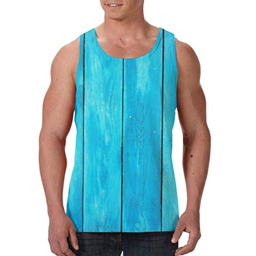 Summer Mens Vest Shirts Crew Neck Sea Blue Old Wooden Oak Plank Striped Woods Sleeveless Vests for Exercise Yoga Game, Classic Slim Fit Sportswear Jersey Tank Shirts, Moisture Wicking ()