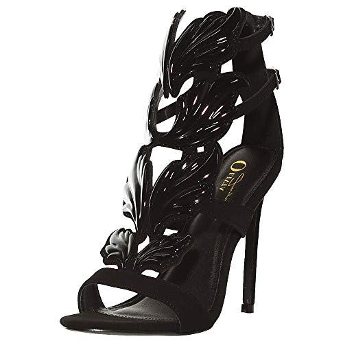 (Olivia Jaymes Women's Fashionable Winged Open Toe Gladiator High Heel Ankle Strap Flame/Leaf Rhinestone Studded Stiletto Dress Sandal)