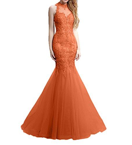 Spitze Ballkleider Charmant Lang Neu Damen Promkleider Orange Abschlussballkleider Meerjungfrau Abendkleider tw7qHX7T