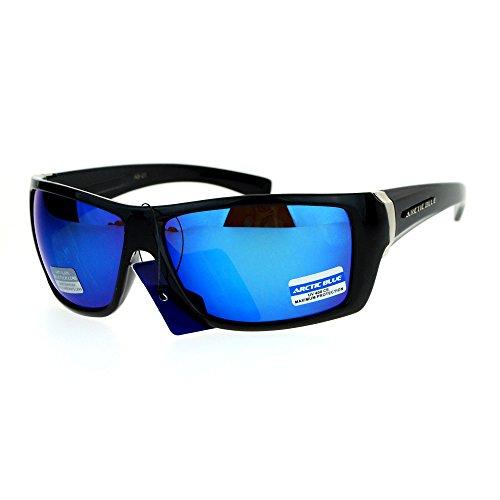 SA106 Mens Arctic Blue Mirror Lens Sport Plastic Biker Warp Sunglasses Shiny - Arctic Sunglasses Blue