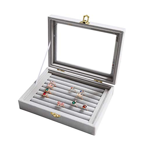 Wuligirl Velvet Glass Ring Display Box Jewelry Holder Storage Organizer Case Earring Rings Tray Showcase Stackable (7 Slot Rings)