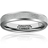 MNH 4mm Tungsten Comfort Fit Beveled Edges Brushed Classy Wedding Band Ring Size 4-12