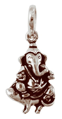 "Ganesh Pendant Elaborate Sterling Silver 1"" Length"