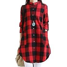 Women Casual Plaid Button Down Cotton Linen Blouse Shirt Dress Plus Size