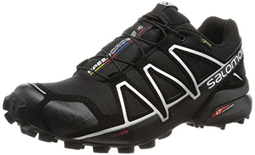 Salomon Men's SPEEDCROSS 4 GTX Trail Running Shoe, Synthetic/Textile, Black (Black/Black/Silver Metallic-X), Size: 48