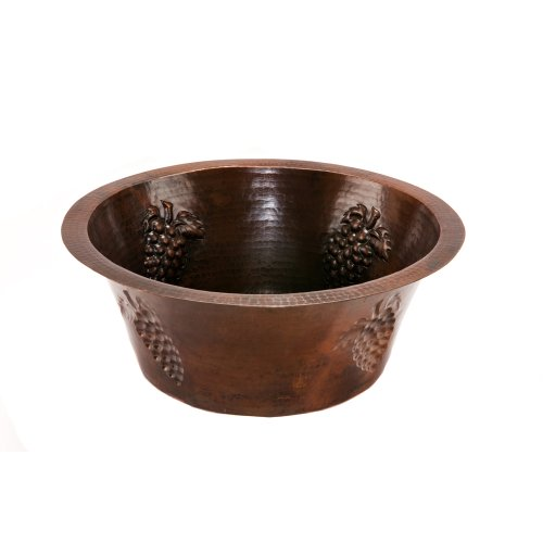 Premier Copper Products BR16GDB3 16-Inch Universal Round Hammered Copper with Grapes Sink and 3.5-Inch Drain Size, Oil Rubbed Bronze by Premier Copper Products (Image #3)