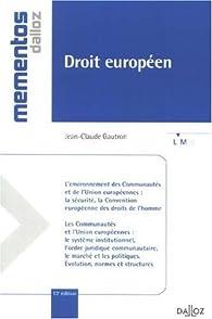 Droit européen par Jean-Claude Gautron
