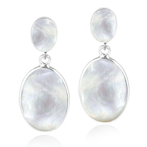 Classy Double Oval White Mother of Pearl Inlay .925 Sterling Silver Post Drop Dangle Earrings