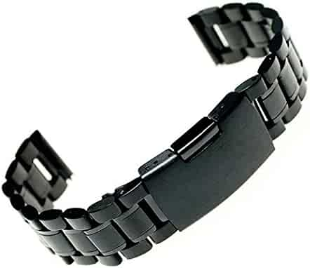 Luxury black 22mm Stainless Steel Watch Band strap Solid Links +Tool+spring bars