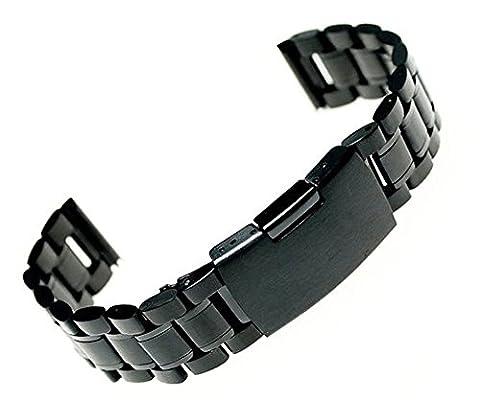 Luxury black 22mm Stainless Steel Watch Band strap Solid Links +Tool+spring bars (Pebble Steel Black Watchband)