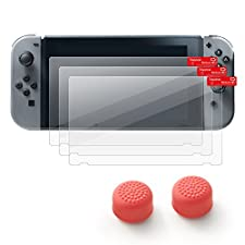 Insten [3-Pack] Nintendo Switch Screen Protector + [2-Pcs] Joy-Con Thumb Grip Stick Caps [Anti-Slip/Protective] For Nintendo Switch Joy Con Controller Thumb Grip [2017 New Release], Style 1 Red