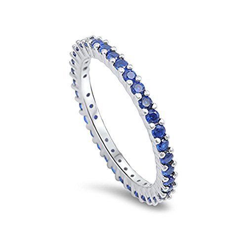 Full Eternity Stackable Wedding Band Ring Simulated Blue Sapphire 925 Sterling Silver,Size-8