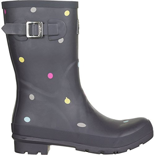 Joules Women's Molly Short Printed Welly Rain Boots, Grey, Rubber, 8 M