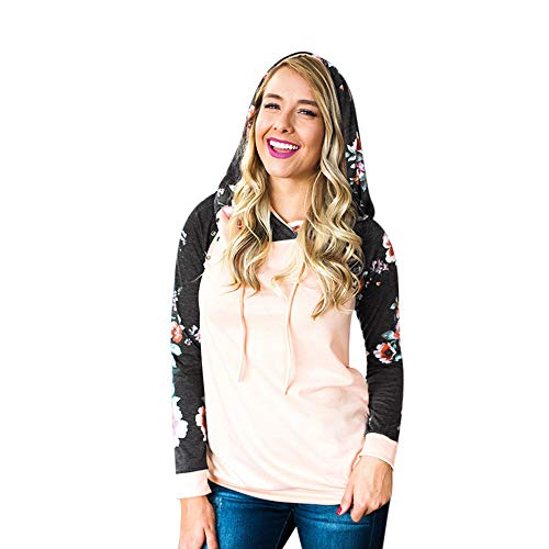 ANJUNIE Women's Hooded Long Sleeve Sweatshirt Floral Print Pullover Stand Collar Tops(Pink,L)