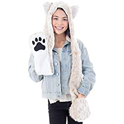 Simplicity 3 in 1 Lovely Animal Beanie Cosplay Hats Scarf with Mittens, Lepard