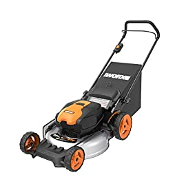 "WORX WG751 40V 19'' Cordless Lawn Mower, 2 Batteries and Charger Included 66 The 19"" Mower includes 2 removable 20V 4.0Ah batteries that delivers 40V power and performance Patented intellicut provides additional torque on demand and the ability to conserve Battery when desired. Premium 3-in-1 design that mulches, bags and side-discharging and includes a quick single lever cutting Height adjustment."