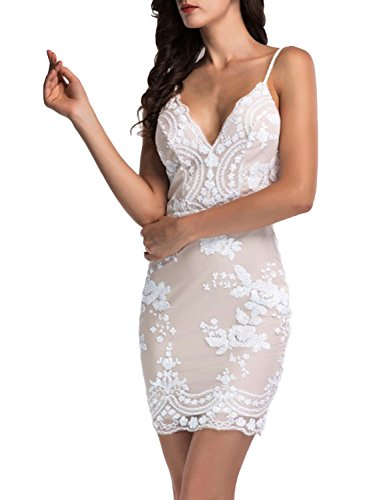 BerryGo Women's Sexy Backless Bodycon Floral Sequin Clubwear Party Dress White,S