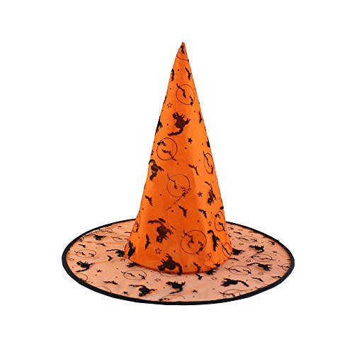 Priest Costume Australia (Absolutely Perfect Adults Unisex Halloween Black Witch Hat Fancy Dress Costume Accessory Orange Bat)