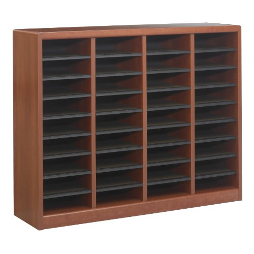 Safco Products E-Z Stor Wood Literature Organizer, 36 Compartment, 9321CY, Cherry, Durable Construction, Removable Shelves, Plastic Label Holders - Ez Stor Labels