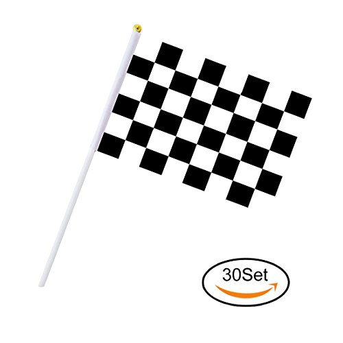 30PCS Checkered Flags 8 x 5.5 Inch Racing Polyester Flags with Plastic Sticks Black & White Racing Flag For Racing, Race Car Party,Sport Events (Race Car Flag)