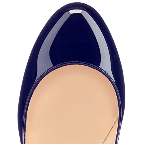 EDEFS Damen 120mm Extreme Sky Heels Lack Pumps Runde Zehen Geschlossen Stilettos Schuhe Blau