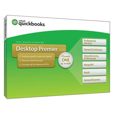 Quickbooks Desktop Premier 2018 1-License; Professional Services, General Contractor, Manufacturing & Wholesale, Nonprofit, Retail, General Business - Choose ONE at Install [Disk and Download]