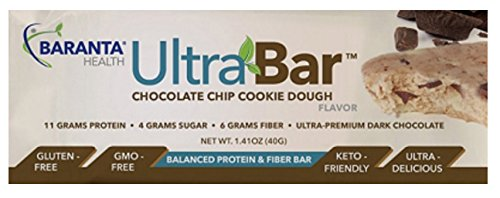 Protein Bars Chocolate Chip Cookie Dough Low Carb Low Sugar High Quality Gluten Free | Dr Formulated | 40g | 12 Bars | by Baranta Health by Baranta Health