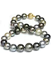 14K Gold Tahitian South Sea Cultured Pearl Necklace 16 - 13 mm Fancy Multicolor AAA- Quality