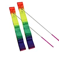 HOONAO 2 Pack 4 Meter Gym Dance Ribbon Rhythmic Art Gymnastic Streamer Twirling Rod Stick(19 Inch Rod) Rainbow Color